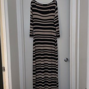 Black and Tan striped maxi